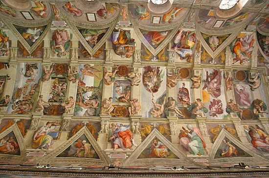 How michelangelo painted the sistine chapel great names - Le plafond de la chapelle sixtine michel ange ...