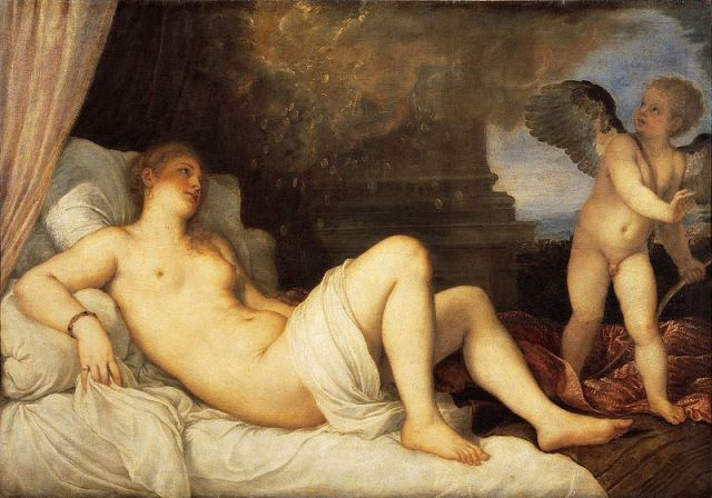 Danaë with Eros, 1544. This painting shows the youthful figure of Eros alongside Danaë. 120 cm × 172 cm. National Museum of Capodimonte, Naples