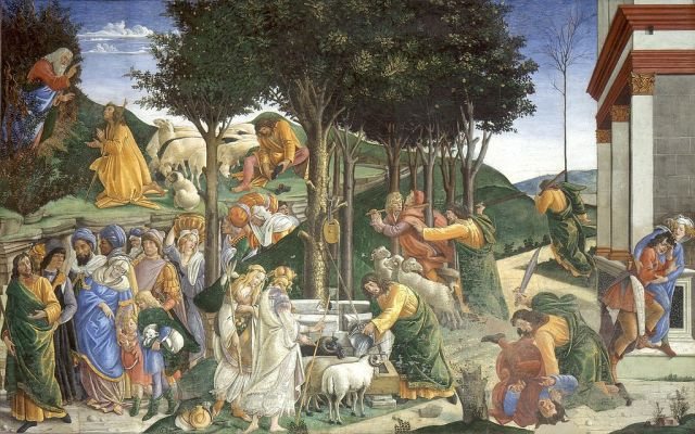 Trials of Moses by Botticelli in the Sistine Chapel (wikimedia public domain photo)