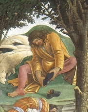 Moses removes his sandals