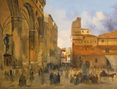 florence_a_view_of_the_piazza_della_signoria_with_the_loggia_dei_lanzi_at_left_by_ippolito_caffi